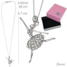 Collana Ballerina Metallo e Strass