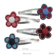 Fermacapelli Clic Clac Metallo con Fiore in Panno