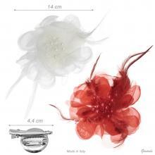 Fermacapelli Spilla Fiore con Perline