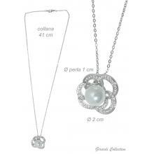 Collana in Metallo con Zirconi e Perla