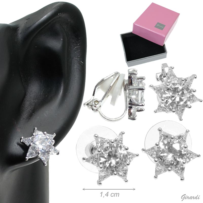 Earrings In Metal Star Of Zircon