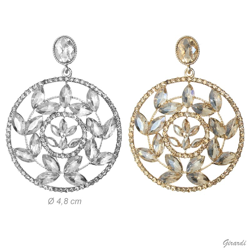 Earrings With Round And Strass Leaves