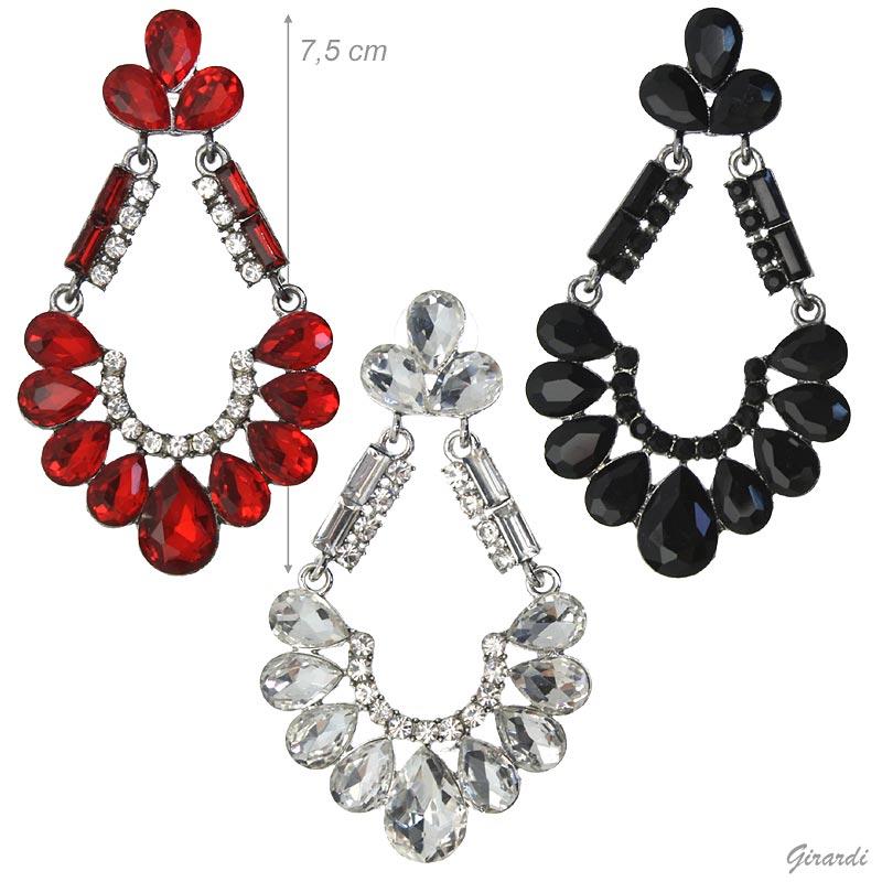 Chandelier Earrings With Strass Pendant