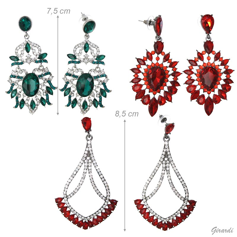 Chandelier Earrings With Strass Pendant