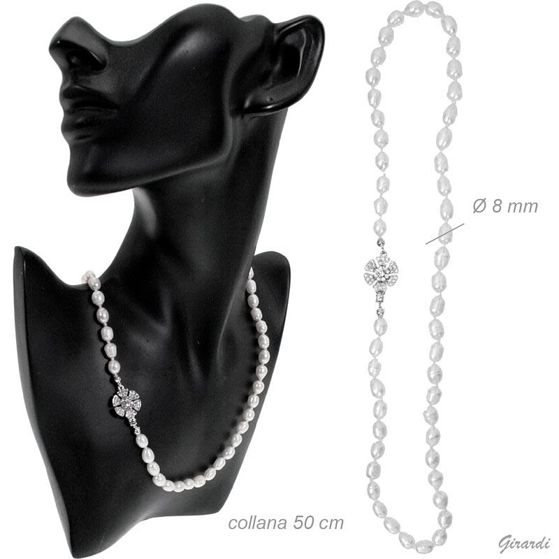 Collana perle di fiume con chiusura gioiello