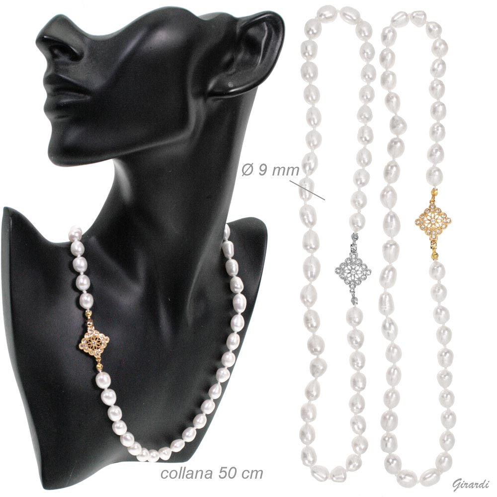 Collana perle di fiume 50 cm con chiusura gioiello