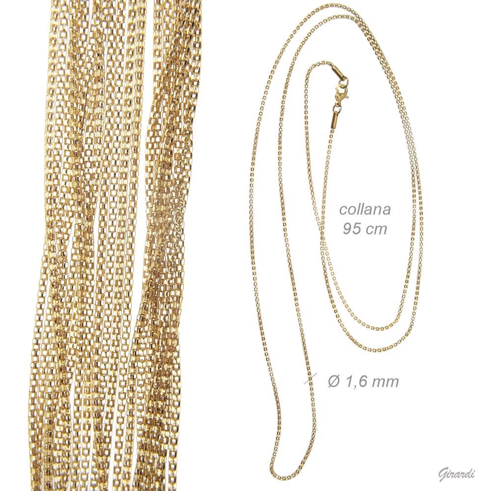 Collana Lunga In Acciaio Color Oro 95cm