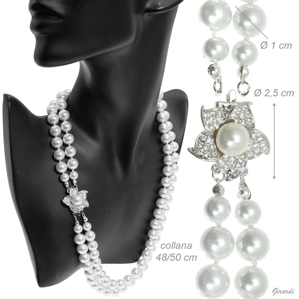 Double Necklace Of White Pearls 55 Cm