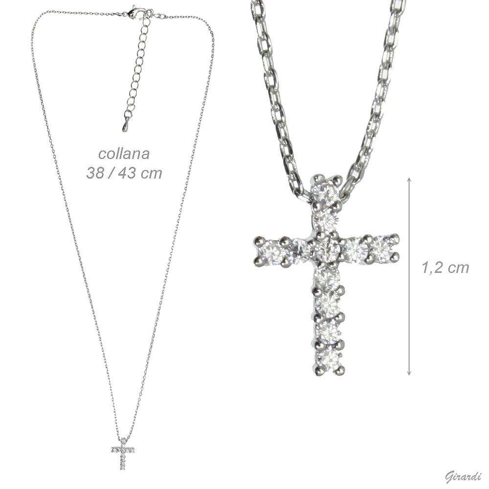 Collana Girocollo Con Croce Di Zirconi