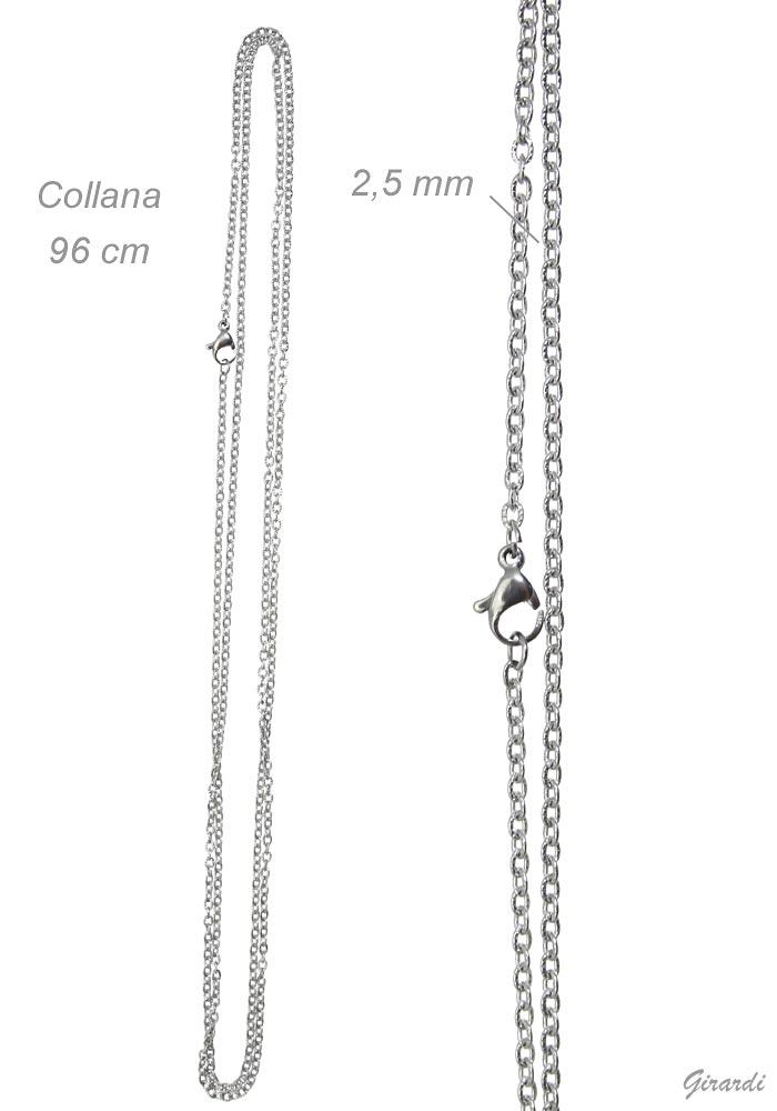 Collana Catenina Lunga In Acciaio 96 Cm