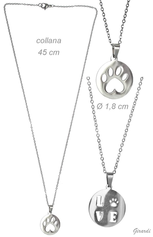 Steel Necklace With Pawprint