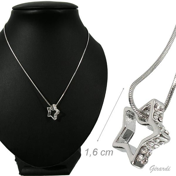 Necklace Metal Star With White Strass
