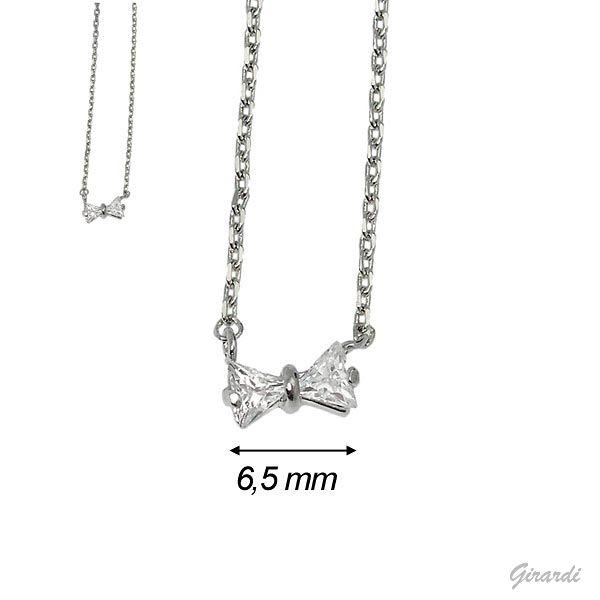 Zircon Bow Pendant Necklace