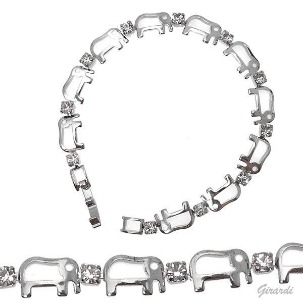 Bracciale Con Elefante E Strass Bianco