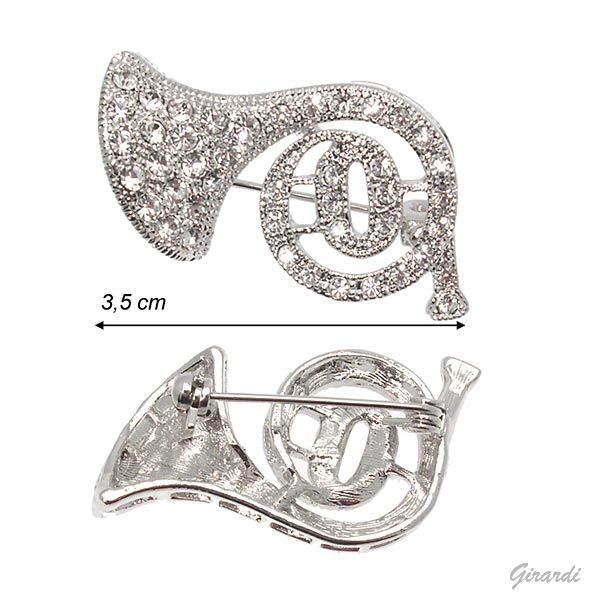 Horn Brooch With Strass