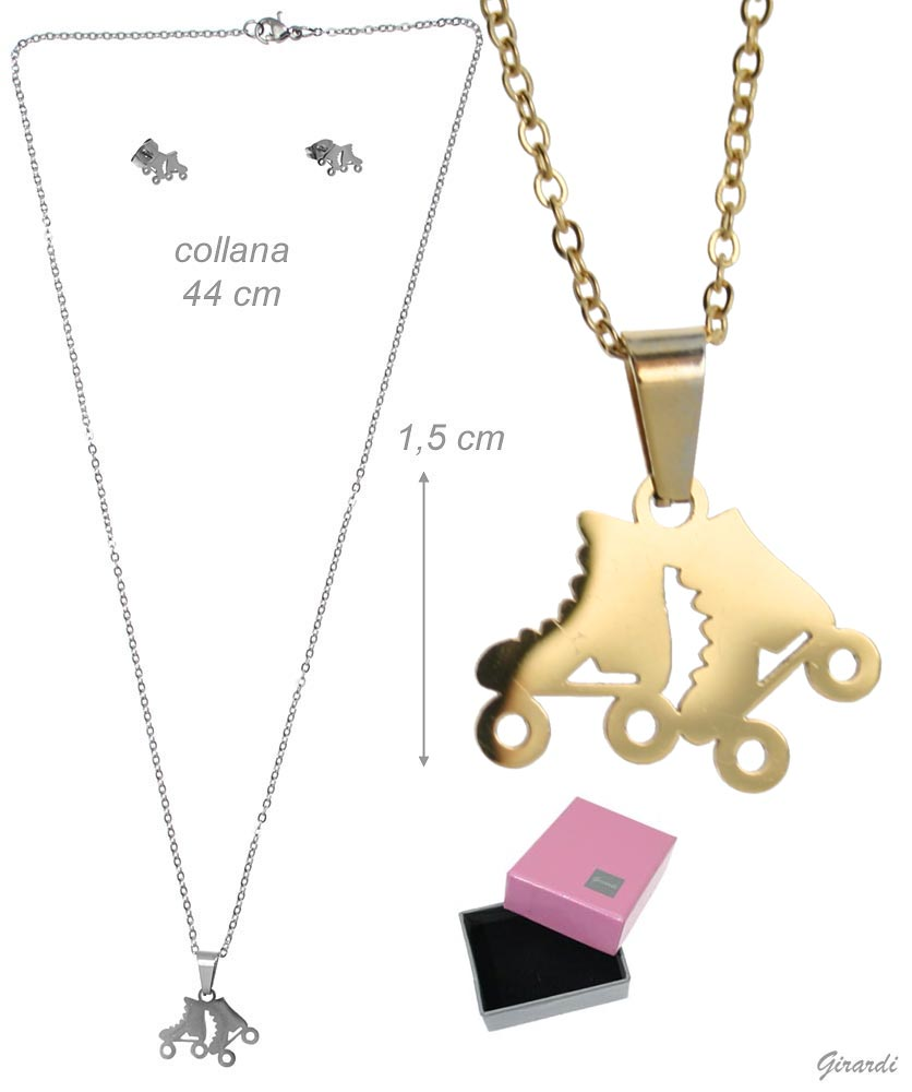 Set Necklace And Stud Earring With Roller Skate Shoes