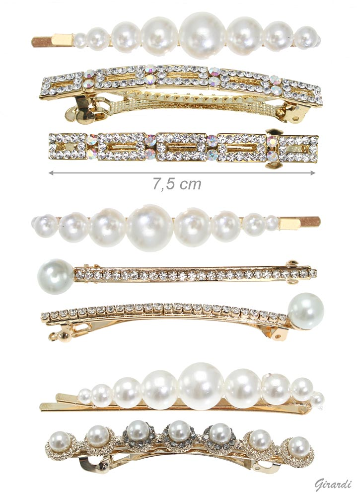 Hair Pin Set With Pearls And Hair Barrette Clip With Strass (12pcs)