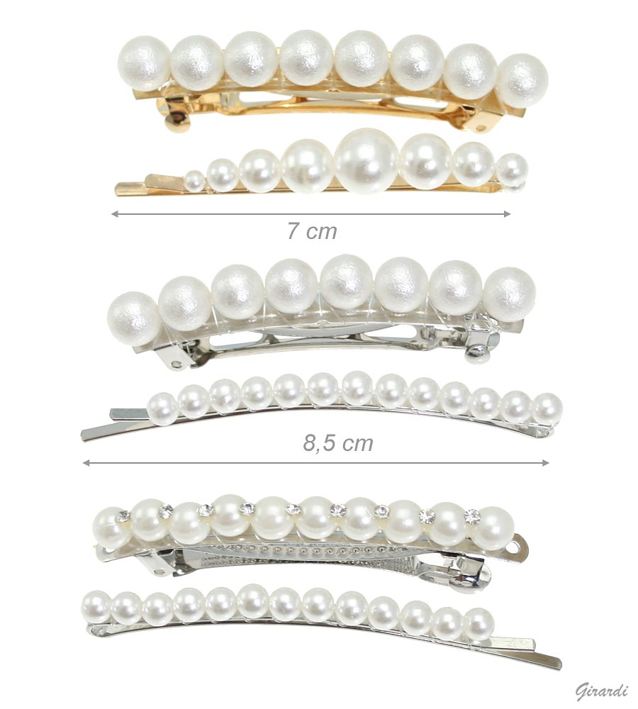 Set Of Hair Pin And Hair Barrette Clip With Pearls (12pcs)