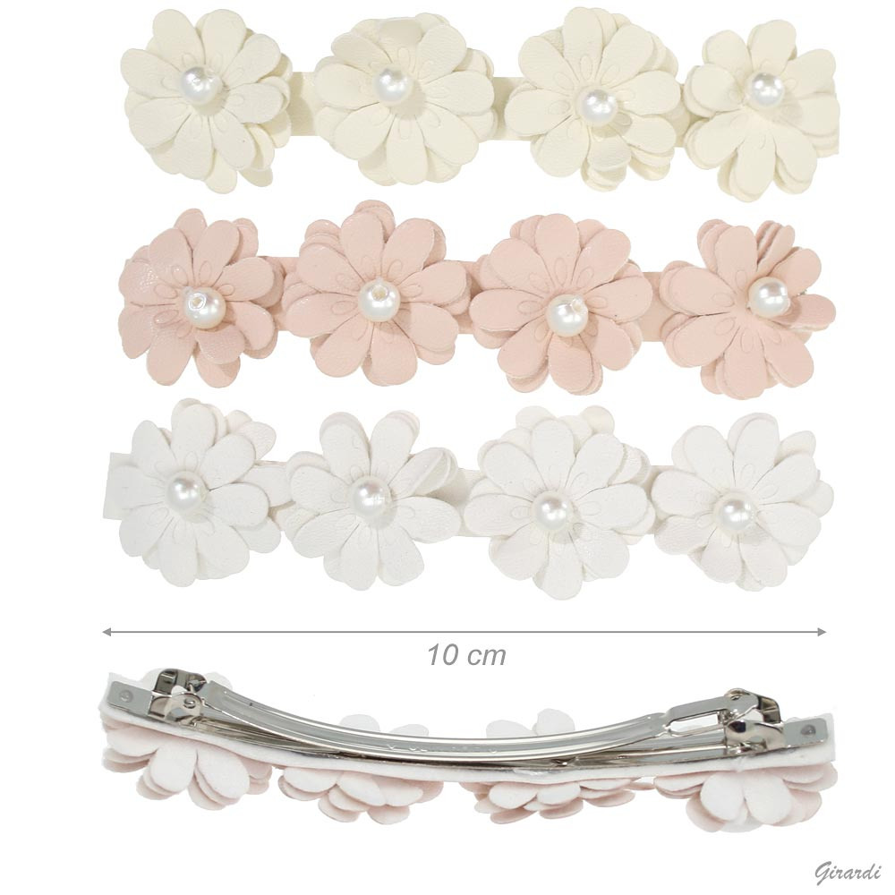 Hair Barrette Clips With Faux Leather Flowers And Beads