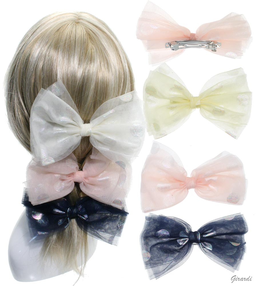 Polka Dots Tulle Bow Metal Hair Barrette Clip