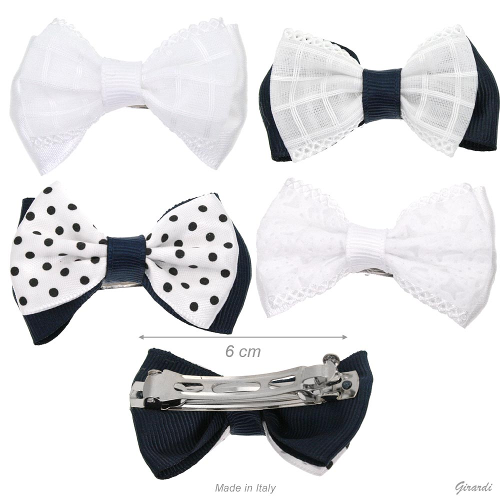Metal Hair Barrette With Double Bows In Fabric