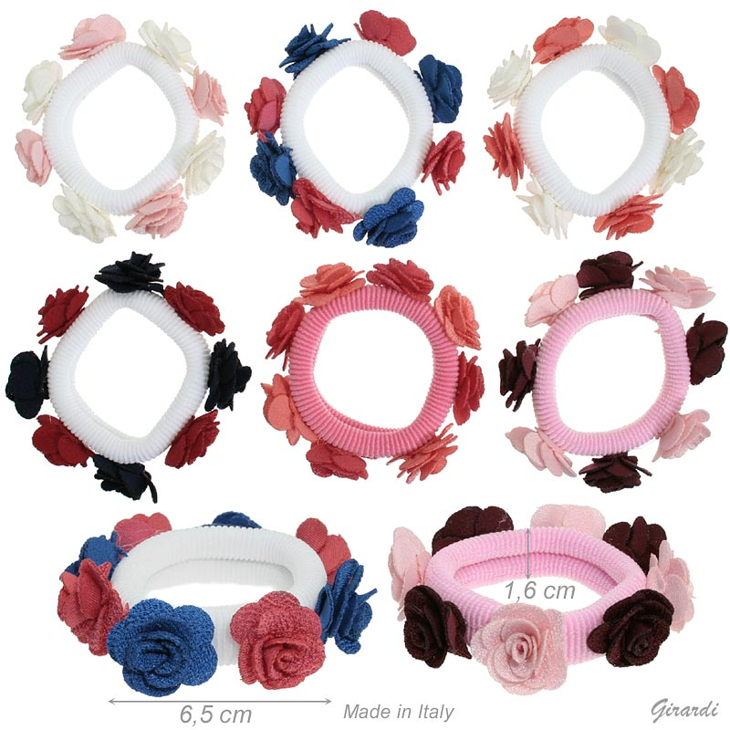 Hair Bobbles Sponge With Assorted Flowers