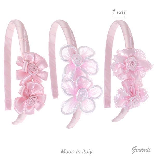 Cerchietto Fermacapelli Con 2 Fiori In Tessuto Rosa