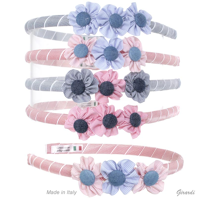Plastic Headband And Colored Ribbon With 3 Flowers