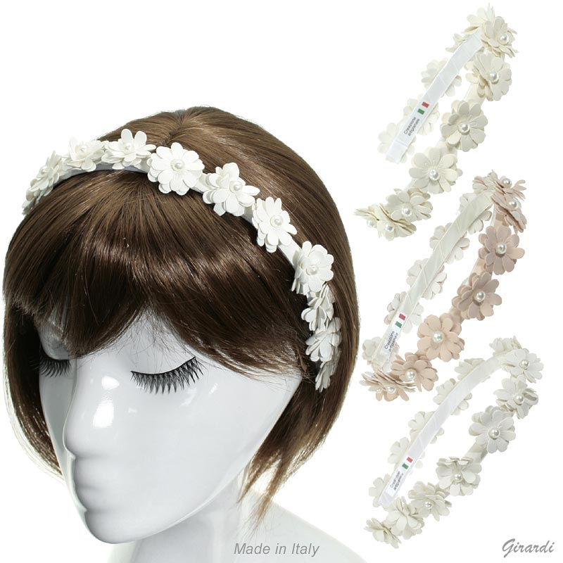 Satin Headband With Eco-friendly Leather Flowers And Pearls