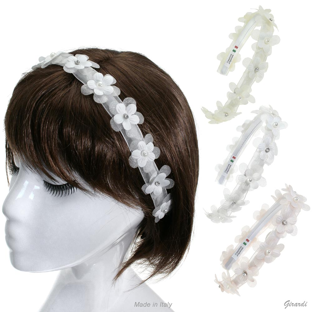 Satin Headband With Flowers, Beads And Strass