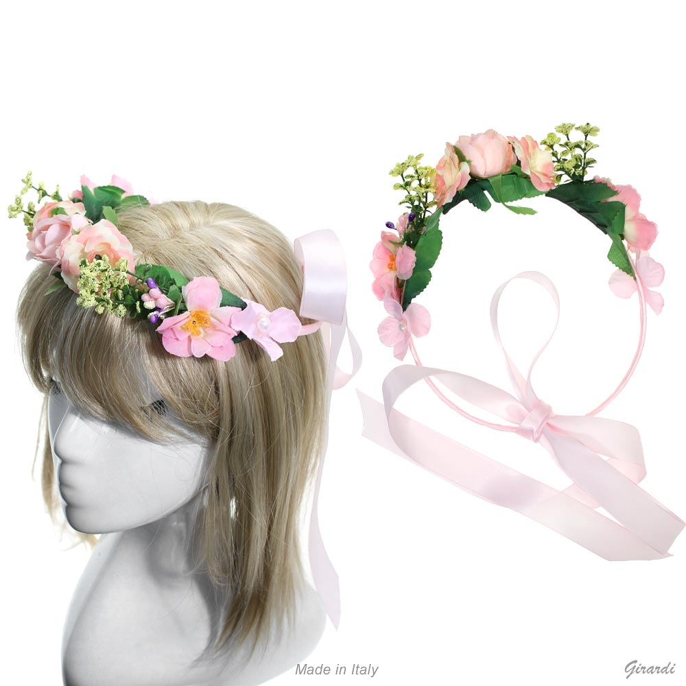 Hair Garland With Flowers And Ribbon