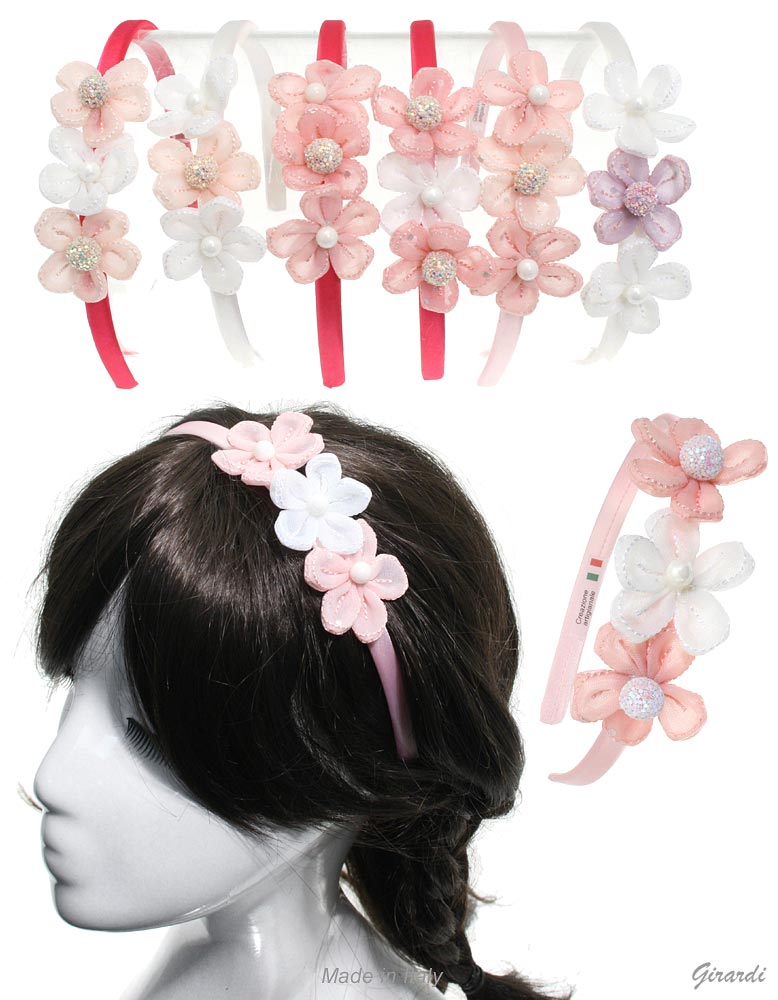 Satin 3 Flowers Headband With Beads And Glitter