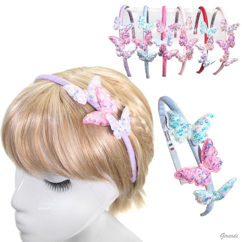 Cerchietto Fermacapelli Con Farfalle Di Paillettes