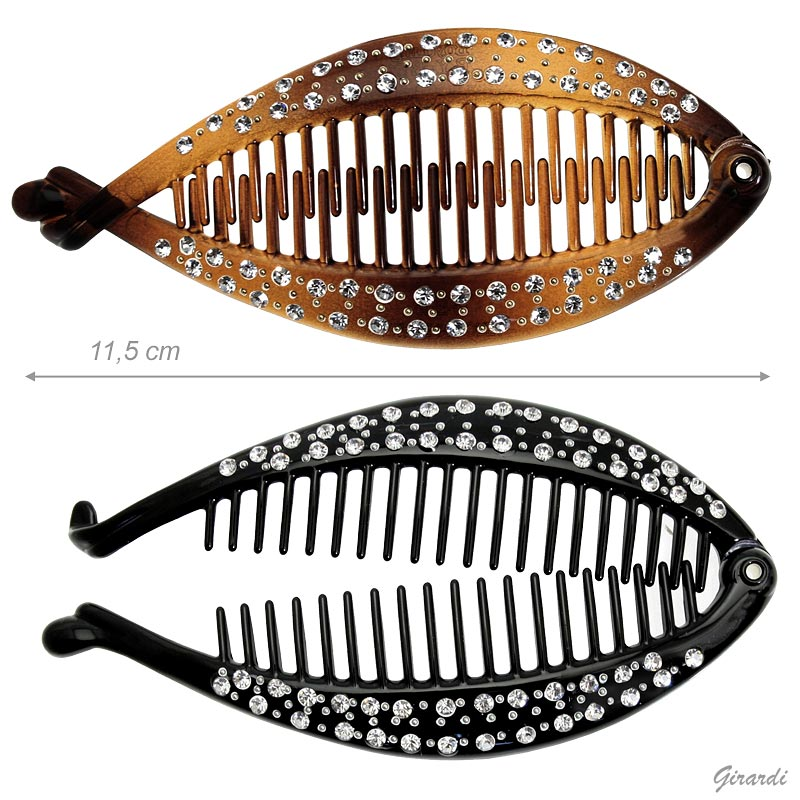 Black And Tortoiseshell Hair Claw-twisted Fish With Strass - 11,5cm