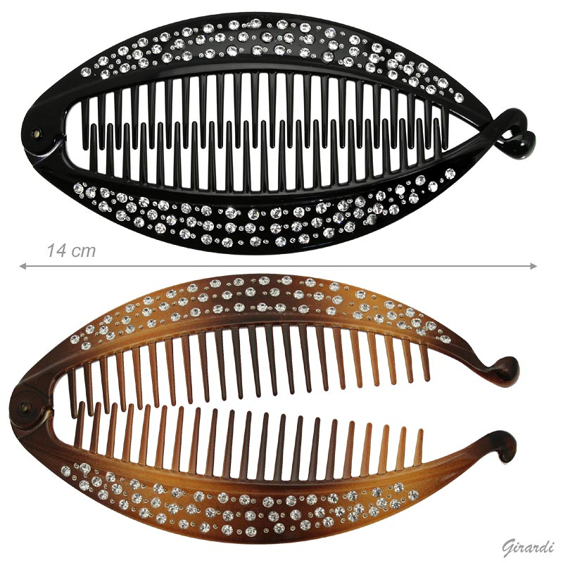 Black And Tortoiseshell Hair Claw-twisted Fish With Strass - 14cm