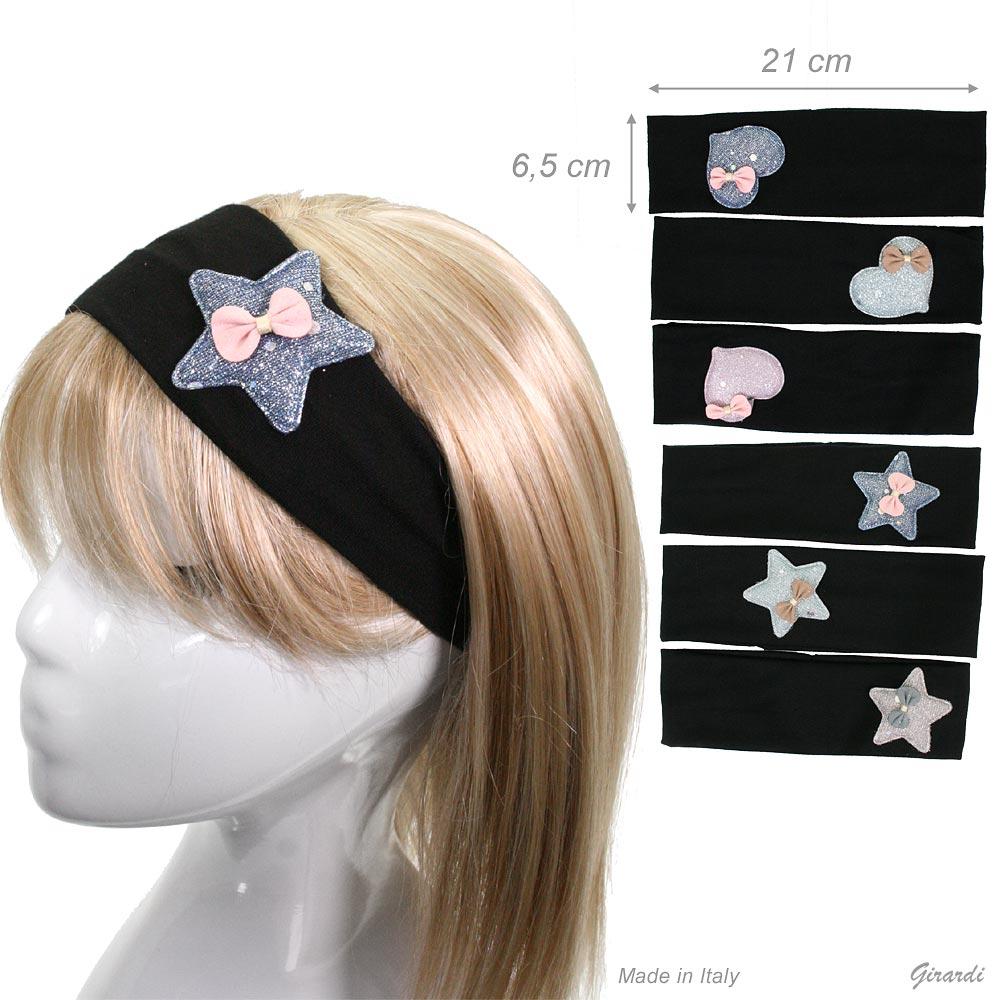 Fascia Fermacapelli Nera 6,5 Cm Stella Cuore Glitter