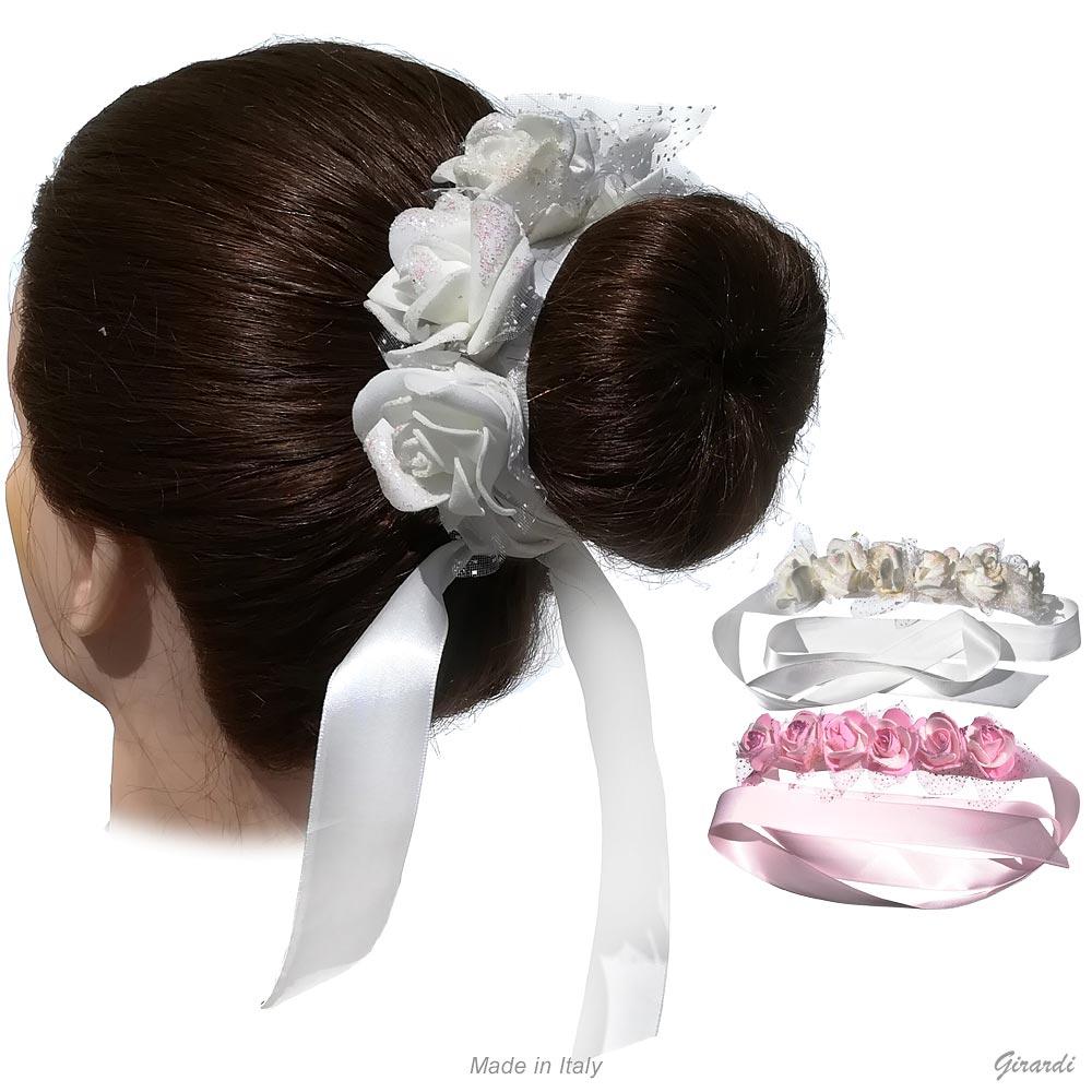 Ribbon Headband With Flowers And Glittery Veil
