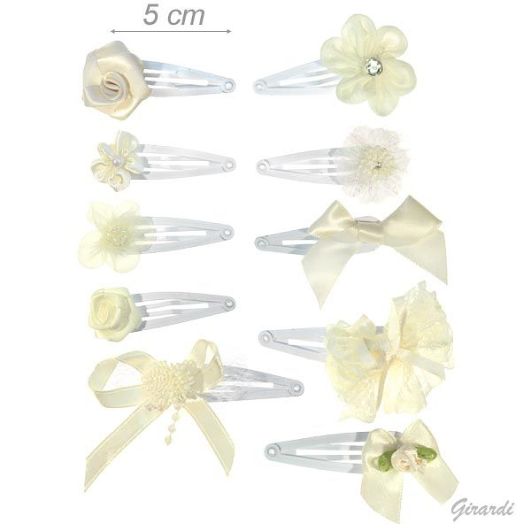 Metal Snap Hair Clips With Ivory Fabric Decoration
