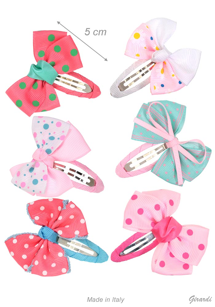 Snap Hair Clips With Bows In Gros-grain Fabric With Polka Dots