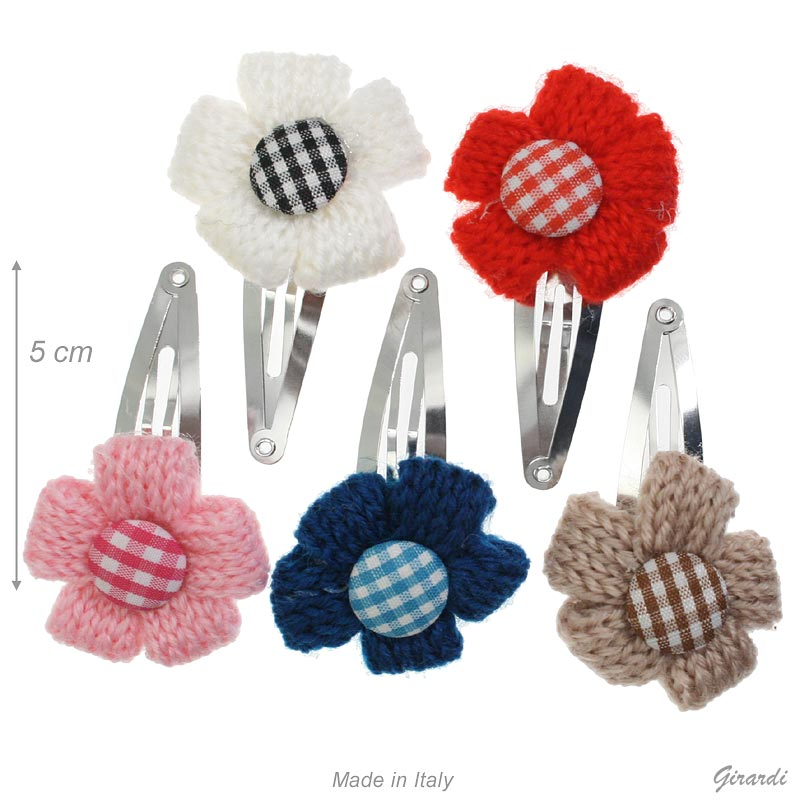Metal Snap Hair Clips 5 Cm With Wool Flower