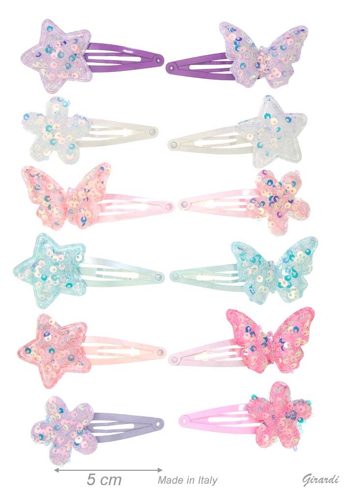 Clic Clac Fermacapelli Con Stelle E Farfalle Di Paillettes