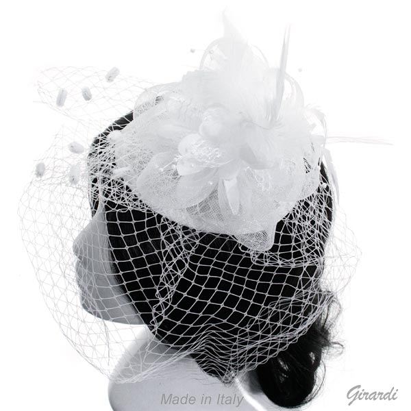 Hair Decoration With Flowers, Feathers, Pearls And Veil