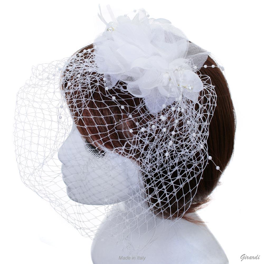 Decorazione Capelli - Veletta Bianca Con Fiore, Fili Di Perle E Cristalli