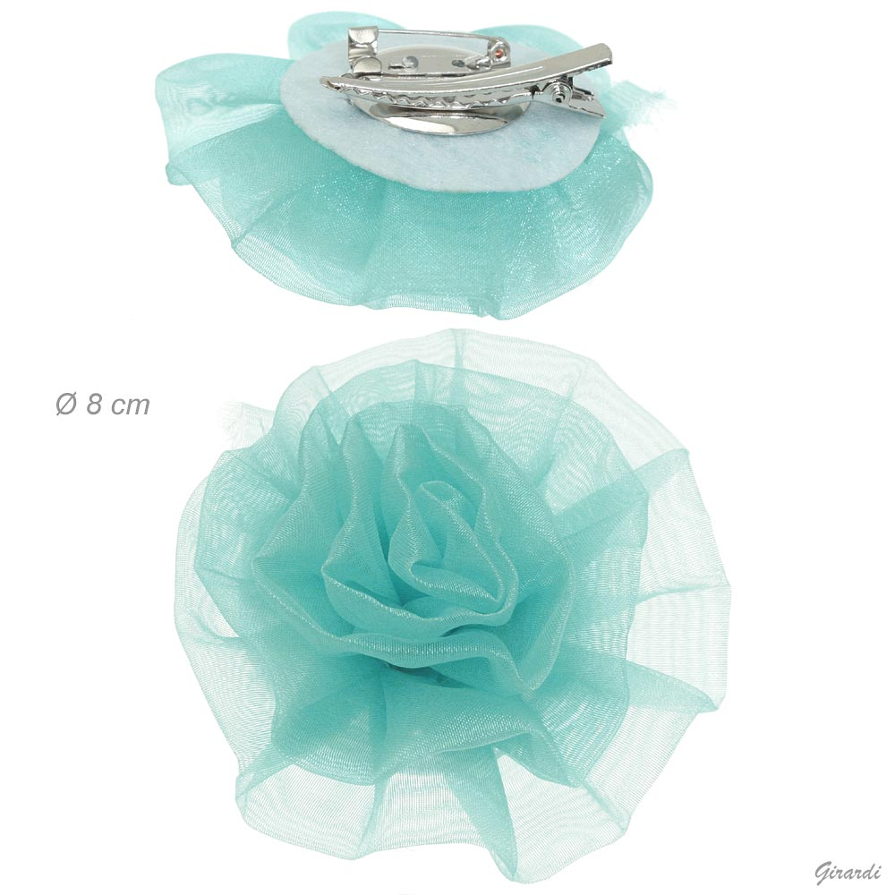 Metal Pin/crocodile Clip With Flower In Aquamarine Tulle