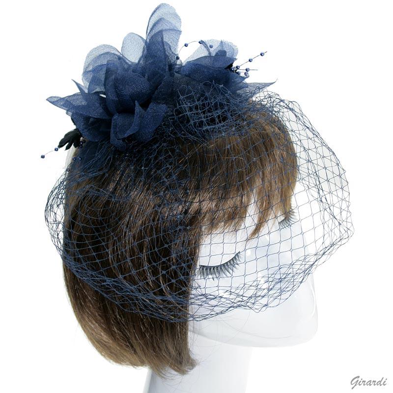 Decorazione Capelli - Veletta Blu Con Fiore E Fili Di Perline