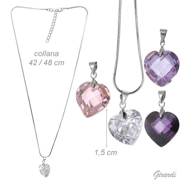 Necklace With Zircon Heart Pendant 1.5 Cm