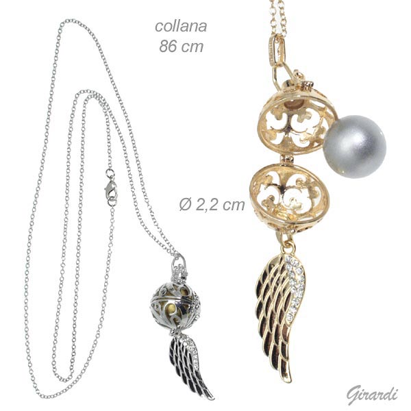 Necklace With Angel Wing And Rattle Pendant