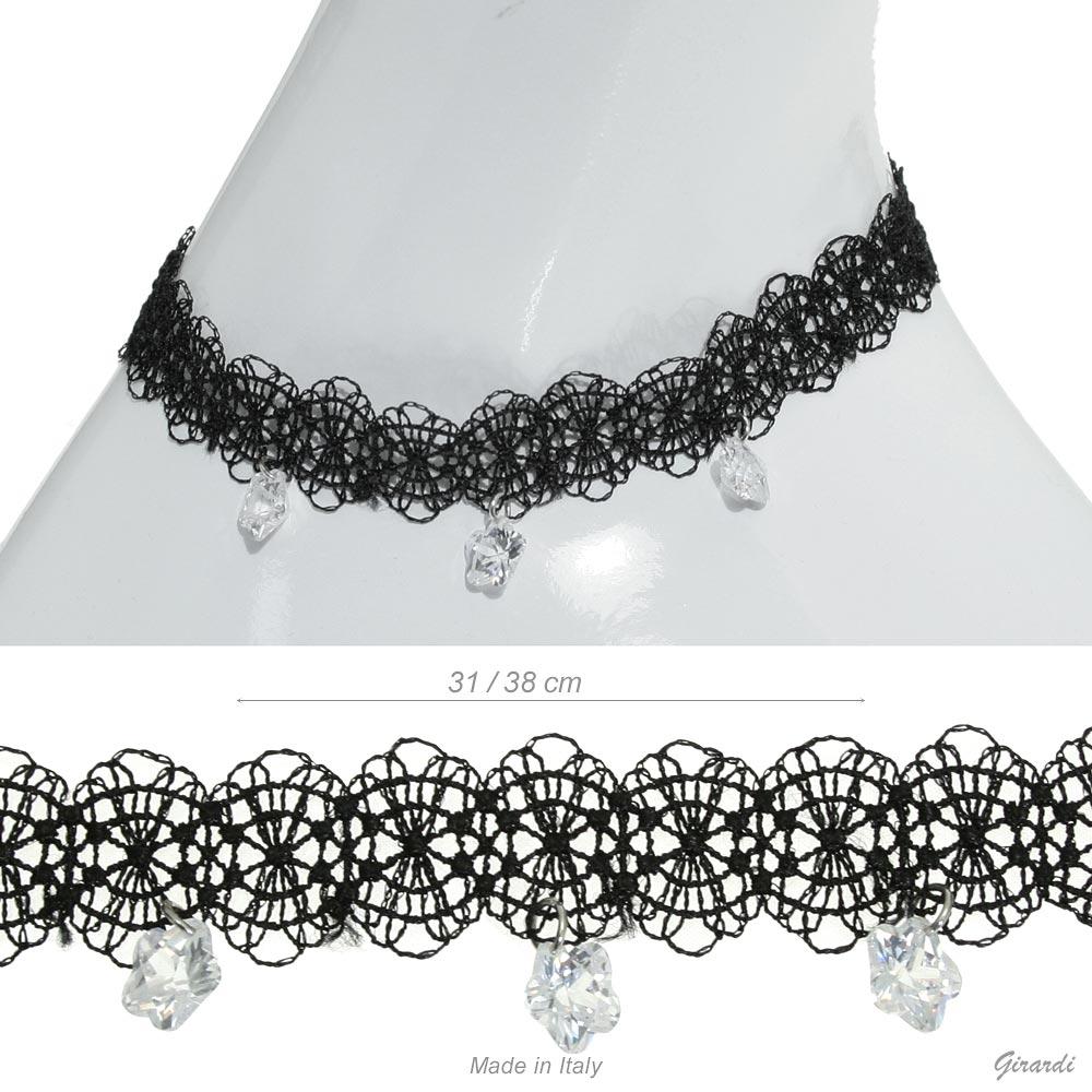 Black Trimming Collar With 3 Zircon Pendants