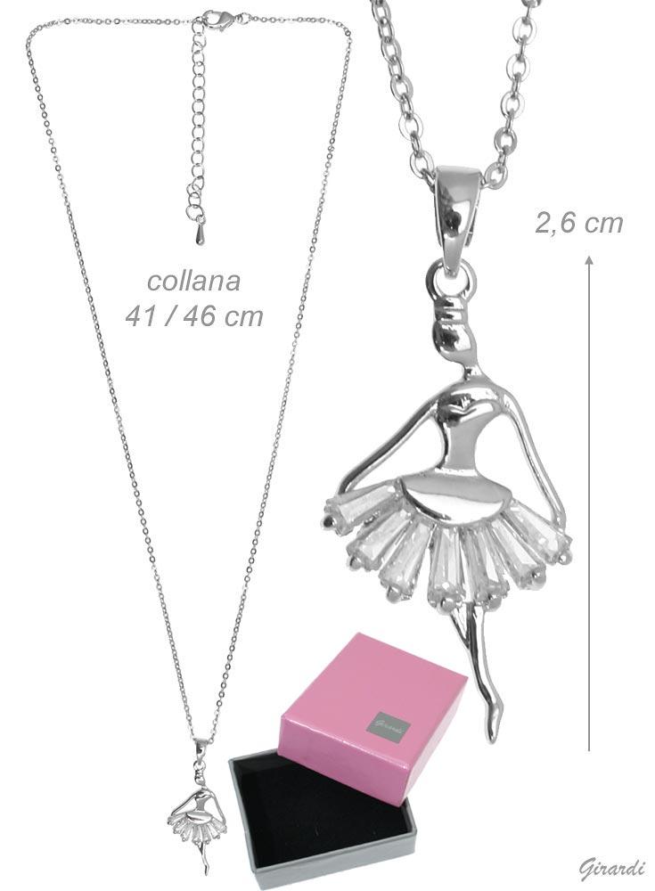 Collana In Metallo Con Ballerina E Zirconi