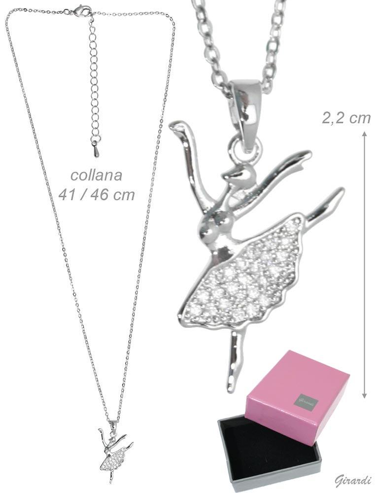 Metal Necklace With Zircon Ballerina